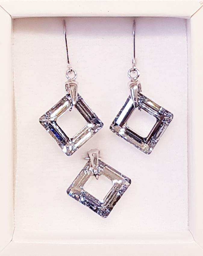 Strieborné náušnice a prívesok s kameňmi Crystals from Swarovski ®, Crystal