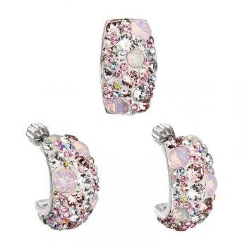 Strieborný set náušníc a príveskov s kryštálmi Crystals from Swarovski ®, Magic Rose