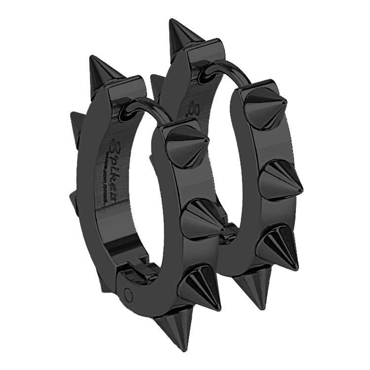 Čierne oceľové náušnice - krúžky s ostňami