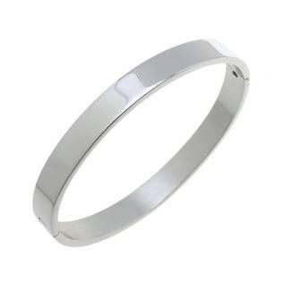 Ocelový náramek kruh otevírací 55 x 48 mm, šíře 6 mm, lesklý