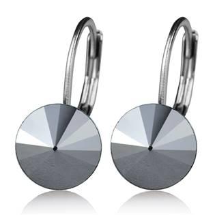Ocelové náušnice s krystaly Swarovski®, BLACK JET HEMATITE