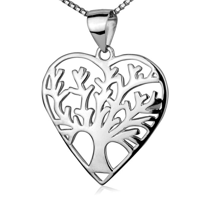 Strieborný náhrdelník - srdiečko strom života