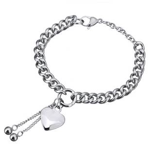 Šperky4U Dámský ocelový náramek se srdíčkem - OPA1342
