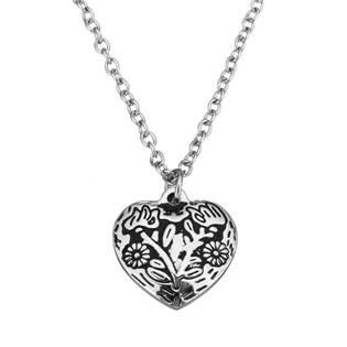 Ocelový řetízek s přívěškem - srdce s ornamenty