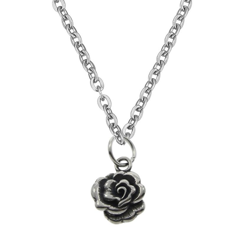 Oceľová retiazka s drobným príveskom ružičkou