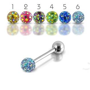 NUBIS® Piercing do jazyka s krystaly Crystals From Swarovski - PJ01211-06