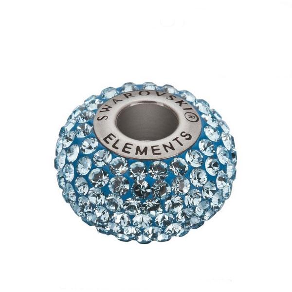 Prívesok BeCharmed Pavé s kryštálmi Swarovski ®, Aquamarine