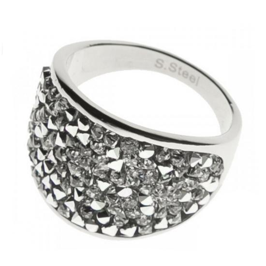 Oceľový prsteň s kryštálmi Crystals from Swarovski ®, CRYSTAL CAL
