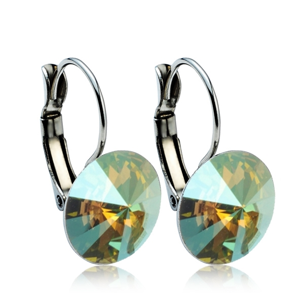 Ocelové náušnice s krystaly Swarovski® 12 mm, IRIDESCENT GREEN