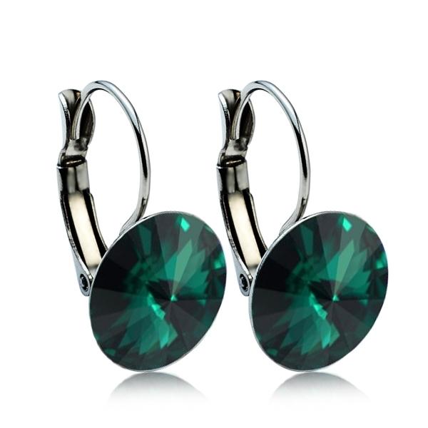 Ocelové náušnice s krystaly Swarovski® 12 mm, EMERALD