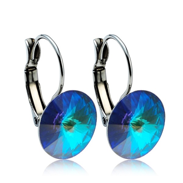 Ocelové náušnice s krystaly Swarovski® 12 mm, BERMUDA BLUE
