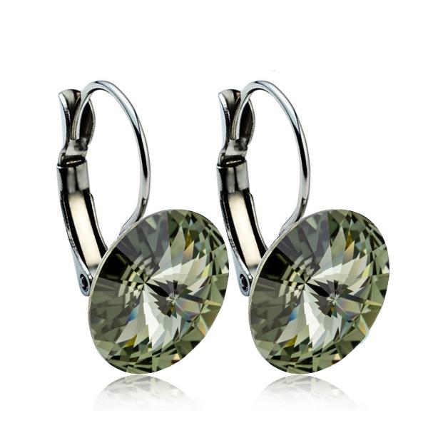 Ocelové náušnice s krystaly Swarovski® 12 mm, BLACK DIAMOND