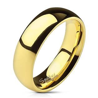 Ocelový prsten zlacený, šíře 6 mm
