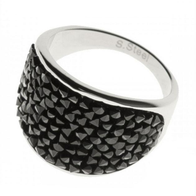 Oceľový prsteň s kryštálmi Crystals from Swarovski ®, BLACK JET