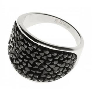 AKTUAL, s.r.o. Ocelový prsten s krystaly Crystals from Swarovski®, BLACK JET - velikost 53 - LV1001-