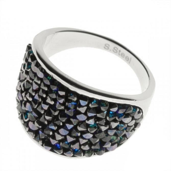 Oceľový prsteň s kryštálmi Crystals from Swarovski ®, BERMUDA BLUE