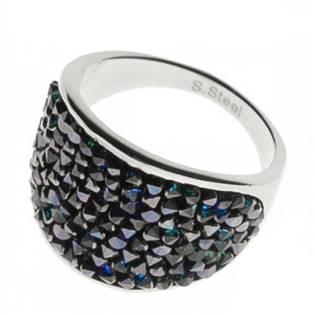 Ocelový prsten s krystaly Crystals from Swarovski®, BERMUDA BLUE LV1001-BB