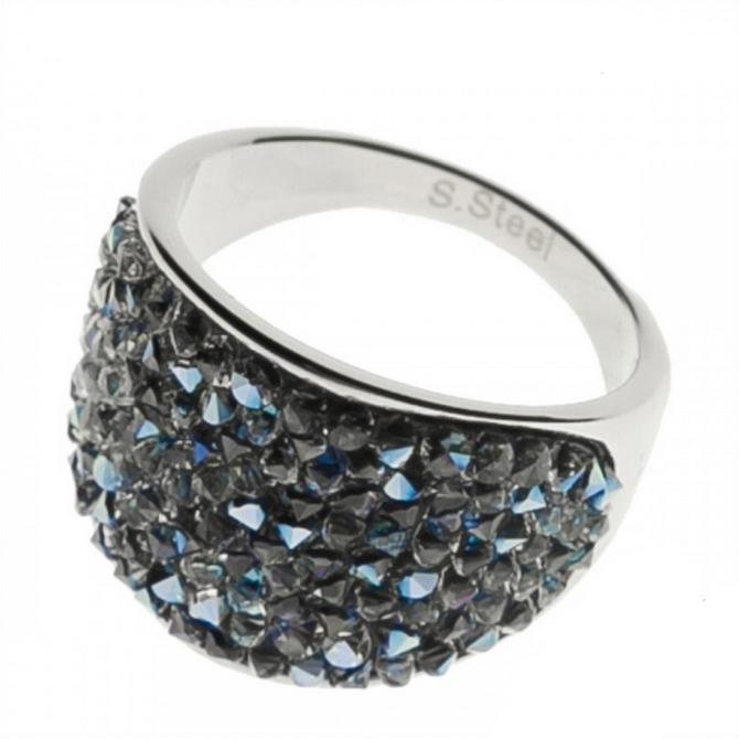 Oceľový prsteň s kryštálmi Crystals from Swarovski ®, BLUELIZED