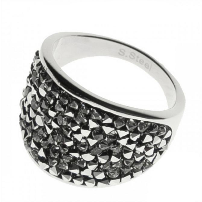 Oceľový prsteň s kryštálmi Crystals from Swarovski ®, LIGHT CHROME