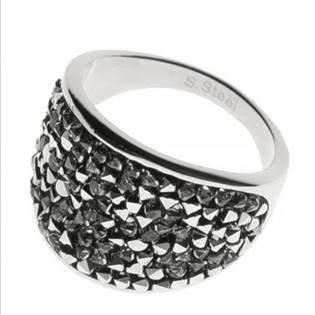 AKTUAL, s.r.o. Ocelový prsten s krystaly Crystals from Swarovski®, LIGHT CHROME - velikost 56 - LV1001-CHR-56