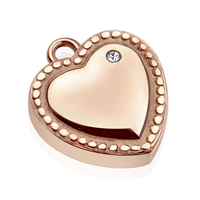 Drobný oceľový prívesok - srdce pozlátené