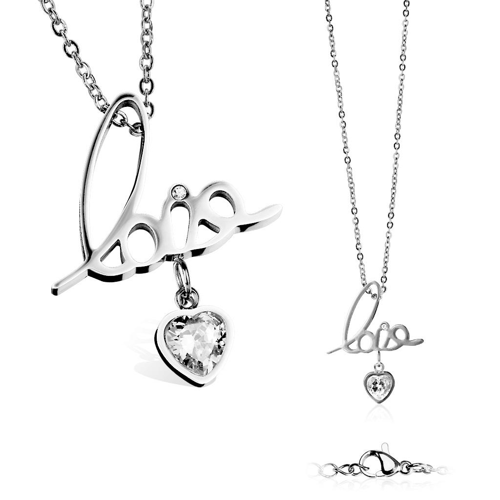 """Dámsky oceľový náhrdelník s príveskom """" love """""""