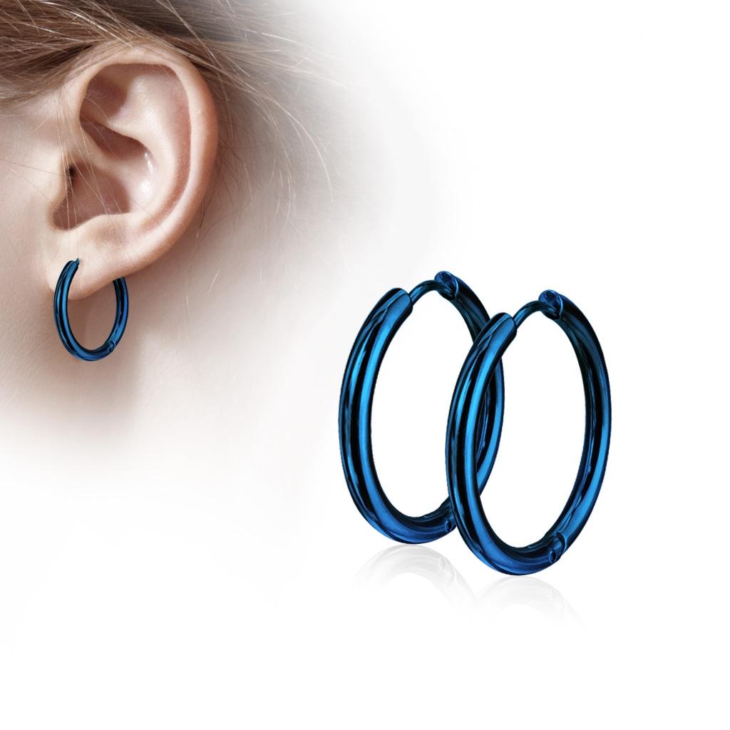 Modré oceľové náušnice - kruhy 10 mm