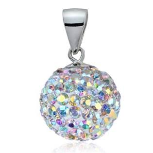 Stříbrný přívěšek koule 10 mm s krystaly Crystals from Swarovski®, Crystal AB