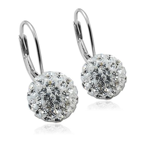 Strieborné náušnice gule 10 mm s kryštálmi Crystals from Swarovski ®, Crystal