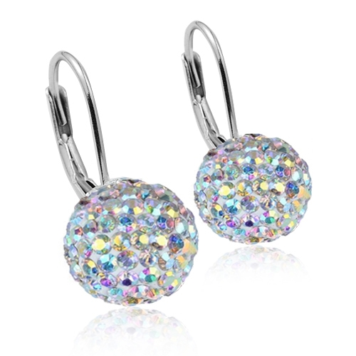 Strieborné náušnice gule 10 mm s kryštálmi Crystals from Swarovski ®, Crystal AB