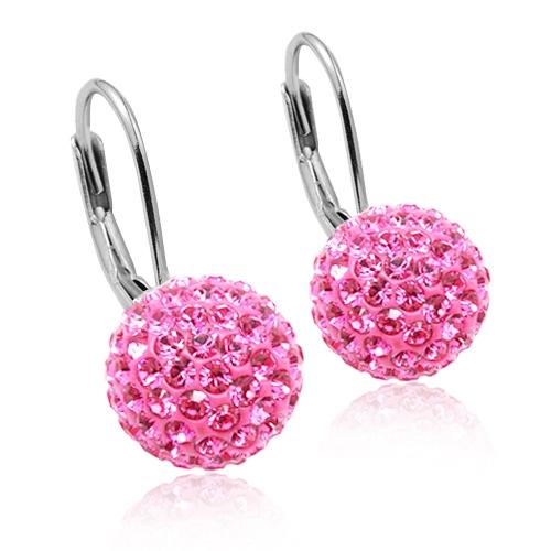 Strieborné náušnice gule 10 mm s kryštálmi Crystals from Swarovski ®, Rose
