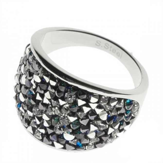 Oceľový prsteň s kryštálmi Swarovski ®, BERMUDA BLUE Peper