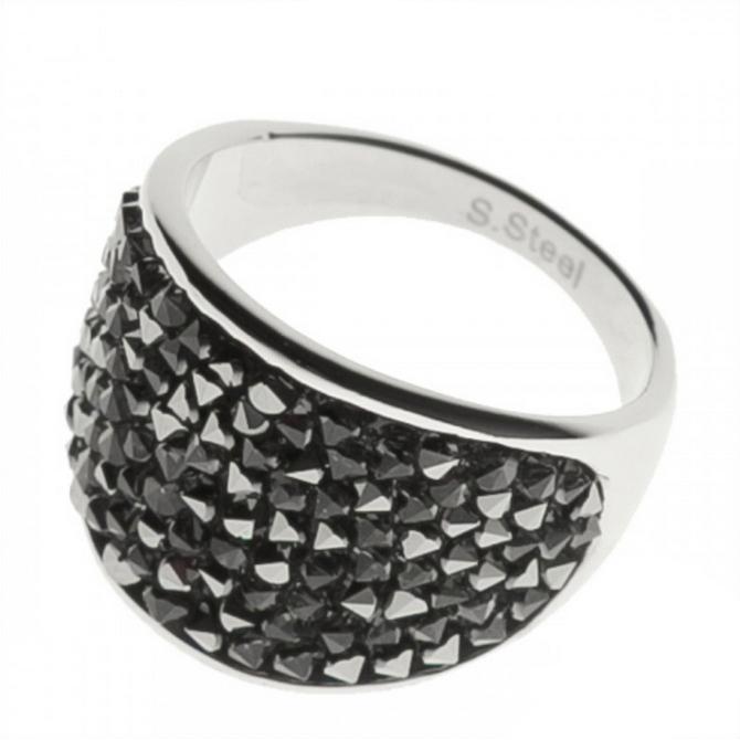 Oceľový prsteň s kryštálmi Crystals from Swarovski ®, GREY METALISEÉ