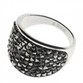 AKTUAL, s.r.o. Ocelový prsten s krystaly Crystals from Swarovski®, GREY METALISEÉ - velikost 63 - LV1001-GME-63