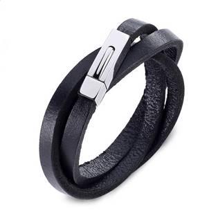 Trojitý kožený náramek černý