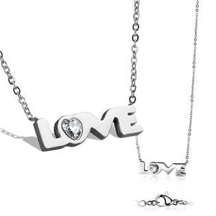"""Dámský ocelový náhrdelník s přívěškem """"love"""""""