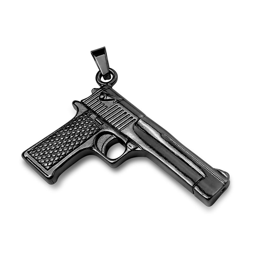 Čierny oceľový prívesok pištole