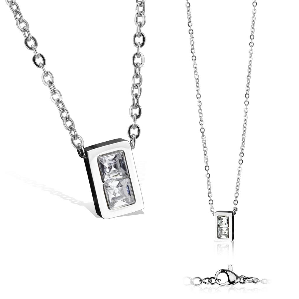 Dámsky oceľový náhrdelník s obdĺžnikovým príveskom