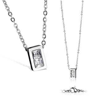 Dámský ocelový náhrdelník s obdélníkovým přívěškem
