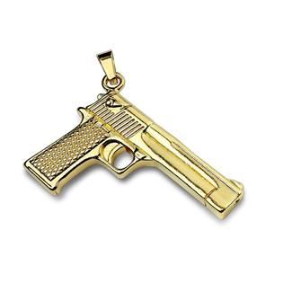 Zlacený ocelový přívěšek pistole