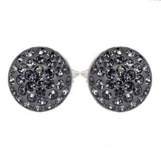 Stříbrné náušnice s krystaly Crystals from Swarovski®, SILVER NIGHT