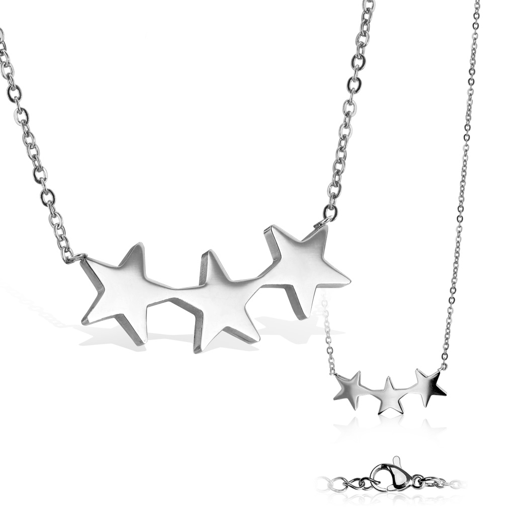 Dámsky oceľový náhrdelník s hviezdičkami