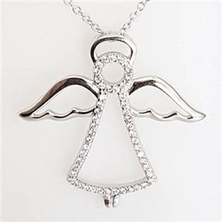Stříbrný řetízek s přívěškem andílek ZB87683