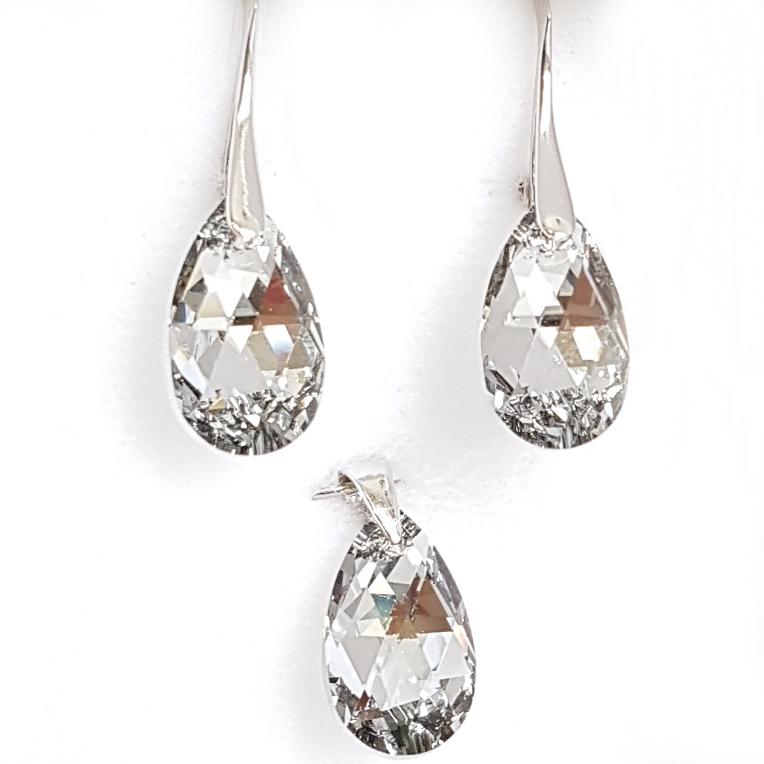 Strieborné náušnice a prívesok s kameňmi Crystals from Swarovski ®