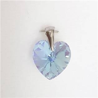 Stříbrný přívěšek srdce z dílny Crystals from Swarovski®,  Aquamarine 14 mm
