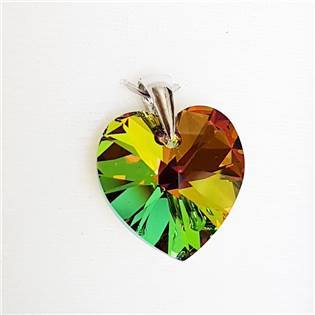 Stříbrný přívěšek srdce z dílny Crystals from Swarovski®, Dark Vitrail 17x17 mm