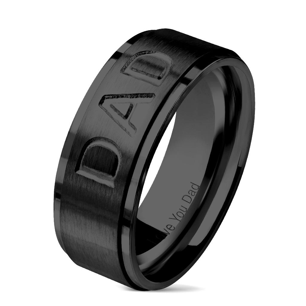 """Čierny oceľový prsteň """" DAD """""""