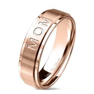 "Zlacený ocelový prsten ""MOM"""