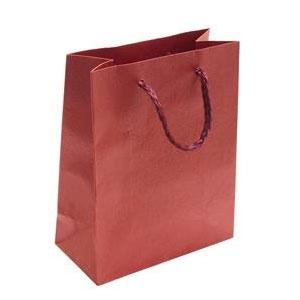 Darčeková taška červená s kvetinovým dekorom
