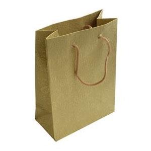 Darčeková taška zlatá s kvetinovým dekorom